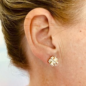 Tory Burch rose gold colored stud earrings
